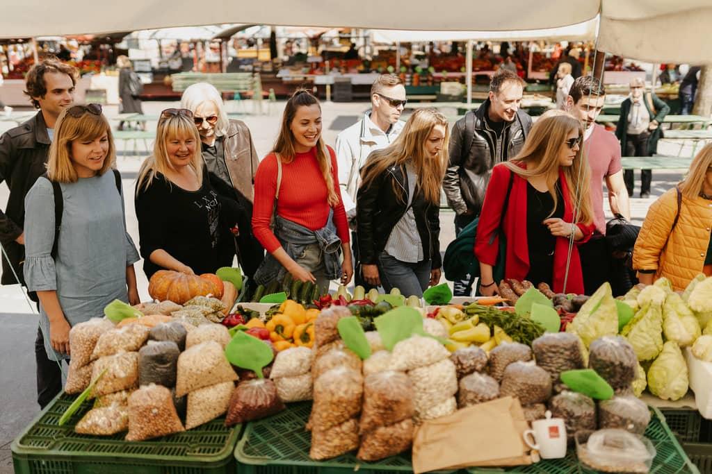 Ljubljana Food Tour visits central market place